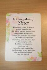 Sister Waterproof Memorial Grave Card Graveside Remembrance Poem Grave Keepsake
