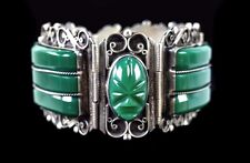 VINTAGE TAXCO MEXICO 980 STERLING BRACELET WITH GREEN GLASS CARVED STONES
