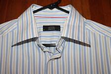 Eton Ganghester 1928 White Blue Gold Striped Dress Shirt sz 16 41