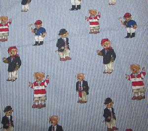 Vintage Classic Ralph Lauren Polo Teddy Bear Blue Striped Twin Flat Sheet
