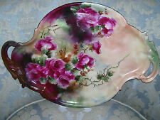 Gorgeous Limoges Porcelain Tray with Fancy Handles and Boldly Painted Roses