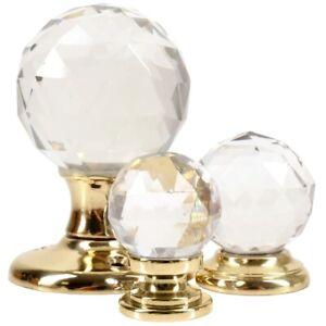 BRASS GLASS BALL KNOBS Furniture/Door Handles Mortice Screw On Crystal Decor UK