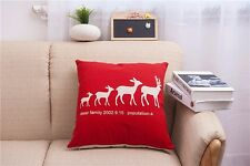 Throw Pillow Case Cushion Cover Home sofa pillowslip Linen deer family red