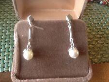 Pre-Owned Silver Tone Faux Pearl Dangle Earrings For Pierced Ears