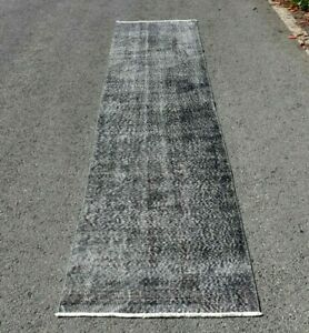 Hallway Gray Runner Rug Turkish Handmade Ethnic Weave Wool Anatolia Rug 2x10 ft.