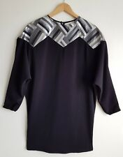 TRAFFIC PEOPLE LADIES BLACK OVERSIZED TUNIC DRESS SIZE XS UK 8-10-12