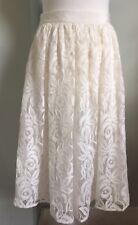 MONSOON Ivory Lace Overlay Midi Skirt Sz 10 12 Ribbon Waist Bridal A-Line Full