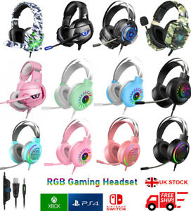 3.5mm Gaming Headset MIC RGB LED Headphones for PC Laptop PS5 PS4 Slim Xbox One