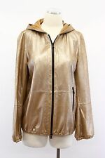 NWT $6995 Brunello Cucinelli Metallic Leather Gold Hooded Bomber Jacket 42 A176