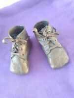 Bronzed Leather with Laces Baby Shoes Collectible Antique Vintage 1920's