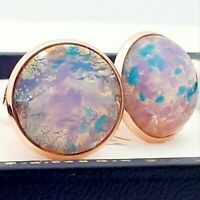 Vintage Milky Pink Gold Glass Fire Opal - Large Round Rose Gold tone Cufflinks