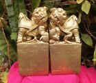 Vintage Chinese Foo Dogs Gold  Colour Book Ends Feng Shui Guardians