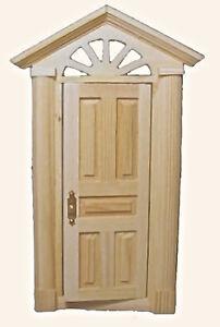 Bare Wood Georgian Skylight Front Door, Dolls House Miniature, DIY 1.12 Scale