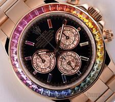 Rolex Mens Daytona 116505 18k Rose Gold 40mm Custom Black Dial Rainbow Bezel