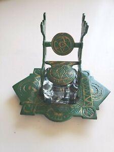 Vintage Brass ink well & Pen holder Green desk set Rare Antique