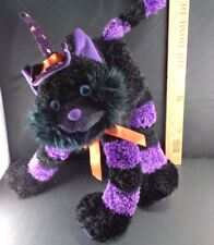 """Halloween Cat Witch Hat And Poseable Tail Plush Stuffed Toy Doll 15"""" tall"""