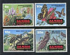 Zambia 86-89, MNH, Conservation Year 1972: Flowers, Bee, Butterflies, x28005