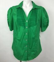 Torrid Button Up Shirt Green Short Sleeve Ruched Stretch Mesh Womens Plus Sz 1X