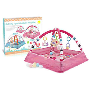 Pink Baby Gym Activity Play Mat & Hanging Toys Infant Playmat For Tummy Time AIR
