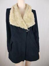 Zara Faux Fur Coat Black Dark Blue Size Large Winter Heavy