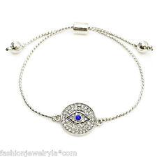 Fashion Silver Crystal Evil Eye Protection Adjustable Bracelet