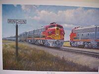 """Railroad Art,Winfield Santa Fe""""Meet at Minchin(TX) ,18X24"""" s/n (0413)"""