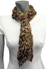 Foulard Marron Léopard 55x160 femme mixte chale leger echarpe NEUF scarf brown