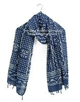 Indigo Cotton Blue Hand Block Print Scarf Indian Reversible Scarves Stole_Neck S