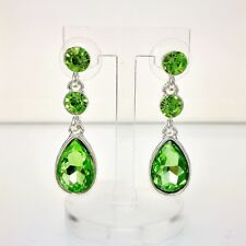 earrings CLIP ON Silver Small Round Crystal Drop Green Herbe Retro YW8