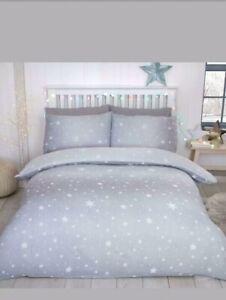 Starburst  100% Brush Cotton Flannelette Duvet Set King  Cheapest On Ebay Grey