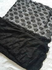 Antique VICTORIAN BLACK SILK CHANTILLY BOBBIN LACE MOURNING FABRIC 5.8 yards