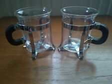 2 x Vintage Boden Coffee Cups. Metal and Glass.