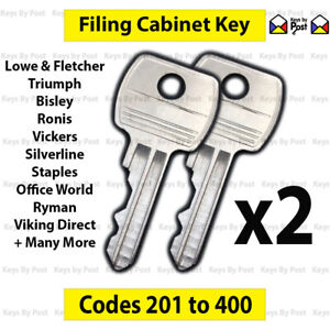 2x Filing Cabinet Key Cut to Code 201-400 Fits Triumph, Bisley Vickers Ronis L&F
