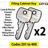 2x Filing Cabinet Spare Key Lowe & Fletcher, Bisley,  Silverline, Triumph, Ronis