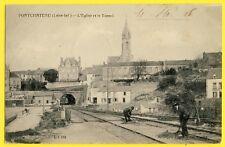 cpa 44 - PONTCHÂTEAU (Loire Atlantique) L'ÉGLISE et le TUNNEL Animés CHEMINOTS