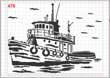 Fishing Boat in Sea Stencil MYLAR A4 sheet strong reusable Craft ART Wall Deco