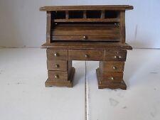 Vintage Roll Top Desk Doll Furniture Sampler Wood Miniature Victorian Office