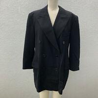 VTG Escada Blazer Margaretha Jacket Women's 14 Black Wool Blend 3 Pockets