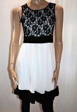 CROSSROADS Brand White w Black Lace and Trim Midi Dress Size 8 BNWT #TN81