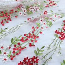 White Red Flower Embroidery Lace Fabric Floral Curtain Wedding Dressing BY YARD