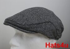 MENS TWEED WOOL FLAT CAP BLACK WHITE Herringbone 59CM L NEW