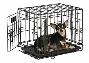 Dog Crate | MidWest iCrate XXS Double Door Folding Metal Dog Crate w/ Divider...