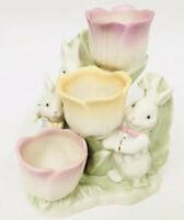 Lenox Easter Occasions TULIPS BUNNIES Figural Spring Tea Light Candle Holder