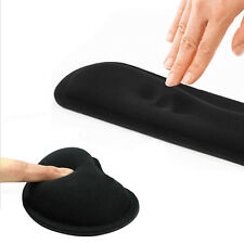 Keyboard Wrist Hand Support & Mouse Pad Mat Set Comfort  Black Gel Cushion
