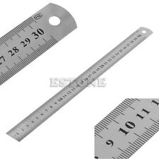 """30CM 12""""Steel Stainless Pocket Pouch Metric Metal Ruler Measurement Double Sided"""