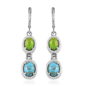 Stainless Steel Blue Green Turquoise Earrings Jewelry Gift For Women Ct 4.5
