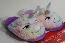 Womens Plush Purple & Multi Pastel Unicorn Slippers Size Med. (6-7) House Shoes