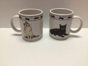 2 beautifu Houston Harvest Cat Lovers Limited Coffee Mugs