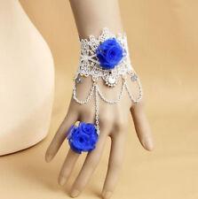 Fashion Handmade Blue Rose White Lace Bracelet Ring Sets Women Girl Jewelry