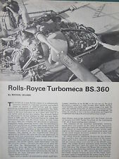 1/1972 ARTICLE 6 PAGES ECORCHE CUTAWAY ROLLS-ROYCE TURBOMECA BS 360 ENGINE